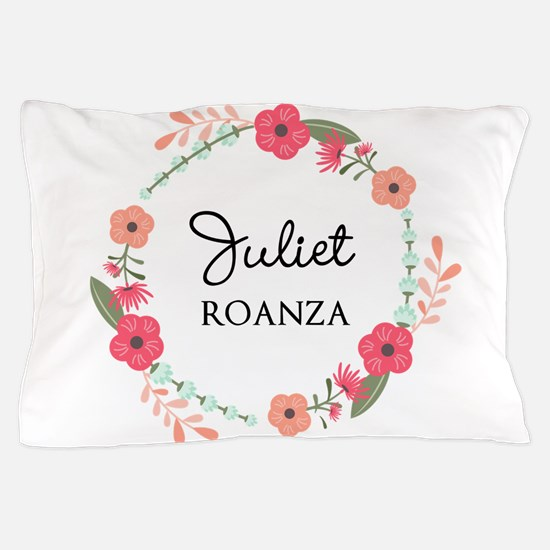 Flower Wreath Name Monogram Pillow Case
