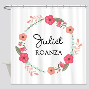 Flower Wreath Name Monogram Shower Curtain