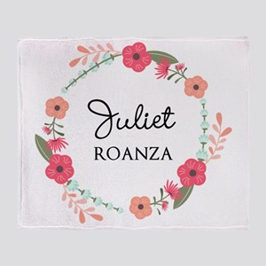 Flower Wreath Name Monogram Throw Blanket