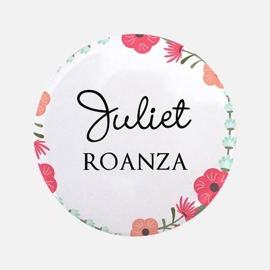 Flower Wreath Name Monogram Button