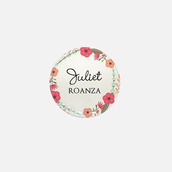 Flower Wreath Name Monogram Mini Button