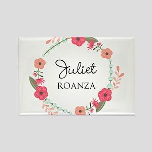 Flower Wreath Name Monogram Magnets