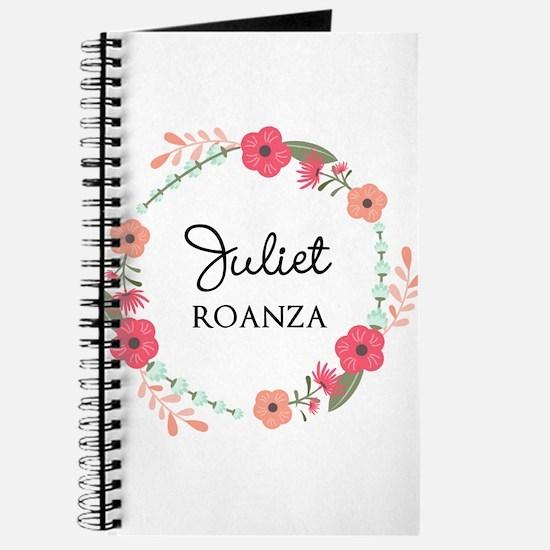 Flower Wreath Name Monogram Journal