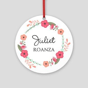 Flower Wreath Name Monogram Round Ornament