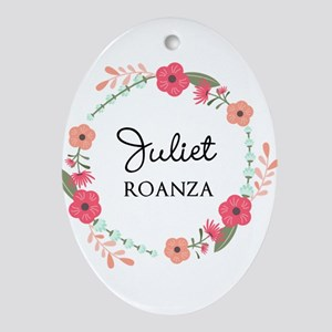 Flower Wreath Name Monogram Oval Ornament