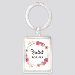 Flower Wreath Name Monogram Keychains
