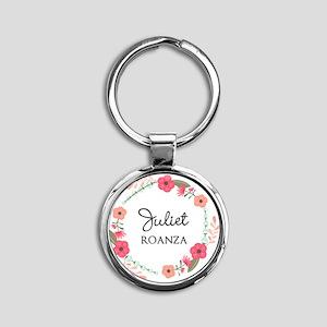 Flower Wreath Name Monogram Keychains