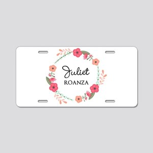 Flower Wreath Name Monogram Aluminum License Plate