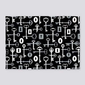 Skeleton Keys Pattern 5'x7'Area Rug