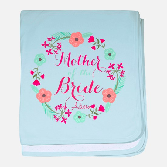 Chic Floral Wreath Mother of the Bride baby blanke