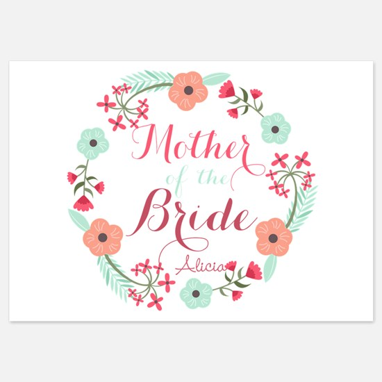 Chic Floral Wreath Mother of the Bride Invitations
