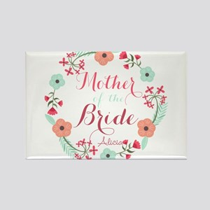 Chic Floral Wreath Mother of the Bride Magnets