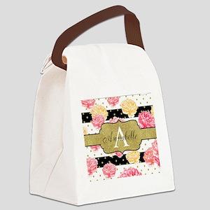 Chic Horizontal Stripes Monogram Canvas Lunch Bag