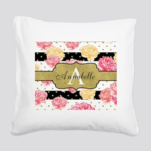 Chic Horizontal Stripes Monogram Square Canvas Pil