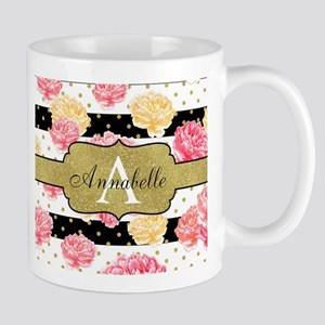 Chic Horizontal Stripes Monogram Mugs