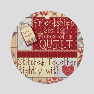 Quilting Friendships Round Ornament