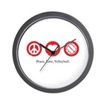 PEACE. LOVE. VOLLEYBALL Wall Clock