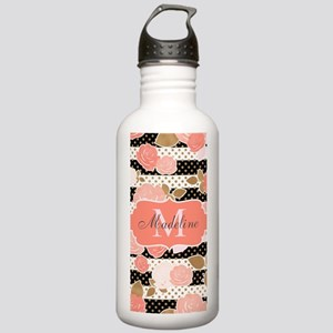 Peach Trendy Monogram Water Bottle
