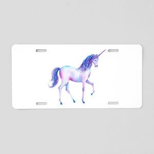 Watercolor unicorn blue and Aluminum License Plate