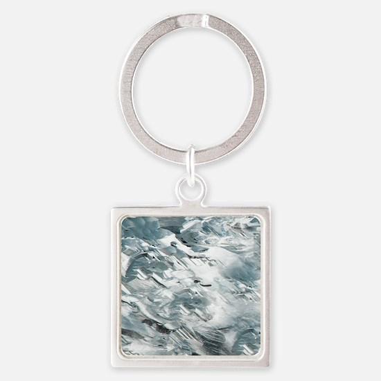 Rough White Diamond Pattern Square Keychain