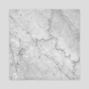 White Marble Pattern - Light Contrast Queen Duvet