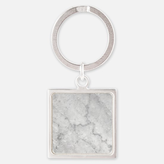 White Marble Pattern - Light Contr Square Keychain