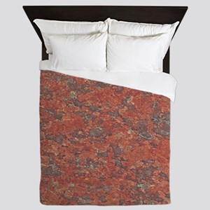 Red Granite Pattern (Light) Queen Duvet