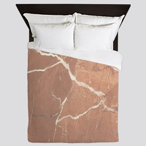 Red - Brown Marble Pattern (Light) Queen Duvet