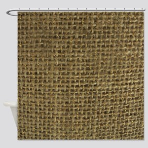 Burlap & Gold Pattern Shower Curtain