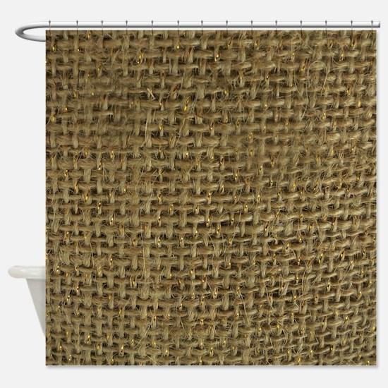 Burlap & Gold Pattern Shower Curtain