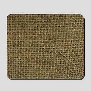Burlap & Gold Pattern Mousepad