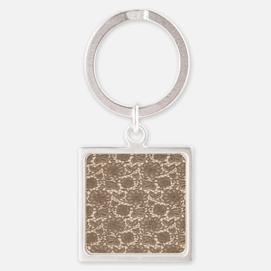 Old Lace Pattern Square Keychain