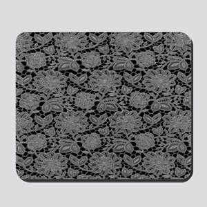 White Lace on Black Pattern Mousepad
