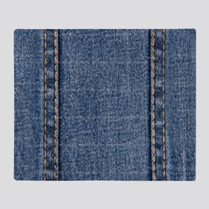 Faded Blue Denim A (Vertical) Throw Blanket
