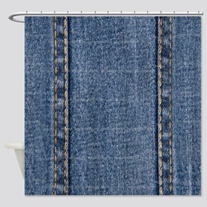 Faded Blue Denim A (Vertical) Shower Curtain