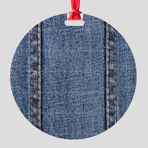 Faded Blue Denim A (Vertical) Round Ornament