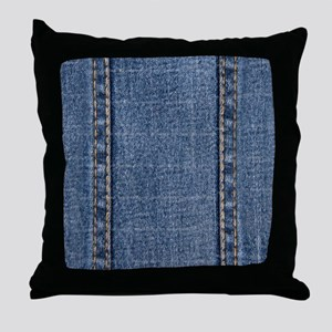 Faded Blue Denim A (Vertical) Throw Pillow