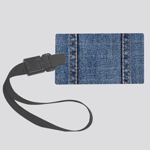 Faded Blue Denim A (Vertical) Large Luggage Tag