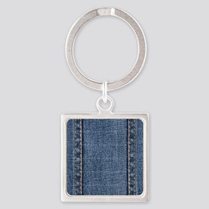 Faded Blue Denim A (Vertical) Square Keychain