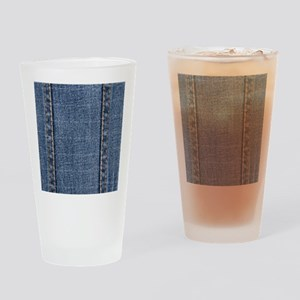 Faded Blue Denim A (Vertical) Drinking Glass