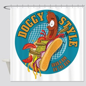 Doggy Style Hot Dog Shower Curtain