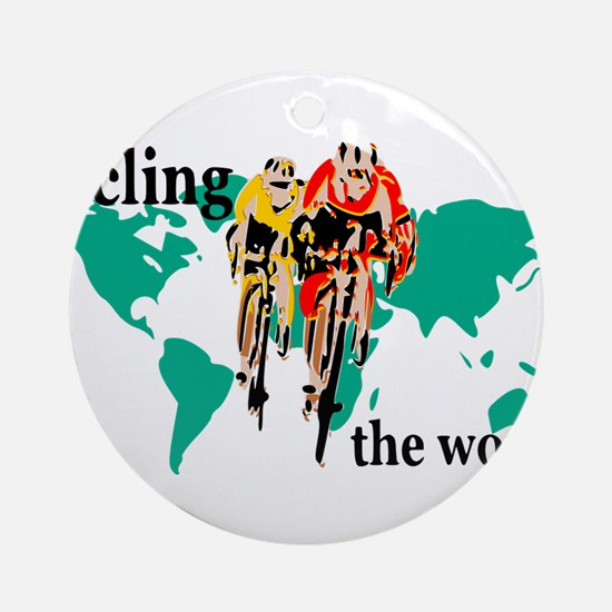 Cycling the World Round Ornament