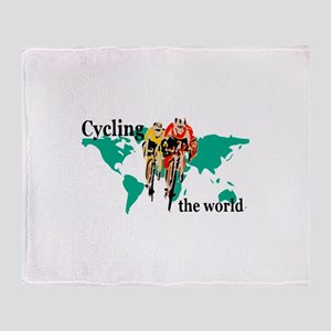Cycling the World Throw Blanket