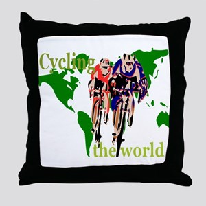 Cycling the World Throw Pillow
