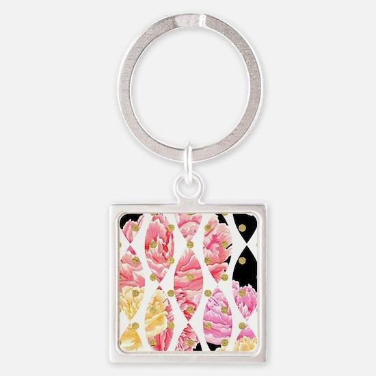 Modern Peony Flowers Black Gold Pink Keychains