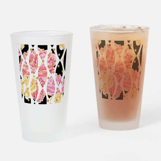 Modern Peony Flowers Black Gold Pin Drinking Glass