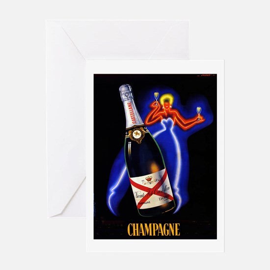 Vintage Champagne Wine Poster Greeting Card