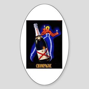 Vintage Champagne Wine Poster Oval Sticker