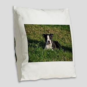 Boston terrier puppy Burlap Throw Pillow