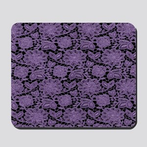 Purple Lace on Black Pattern Mousepad